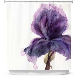 Premium Shower Curtains | Dawn Derman - Purple Iris | Nature Flower