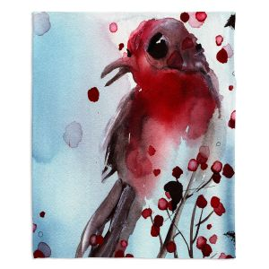 Decorative Fleece Throw Blankets | Dawn Derman - Red Finch in Winter