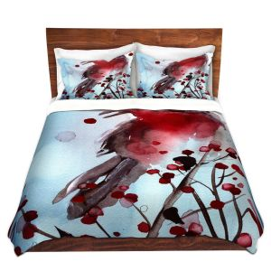 Artistic Duvet Covers and Shams Bedding | Dawn Derman - Red Finch in Winter