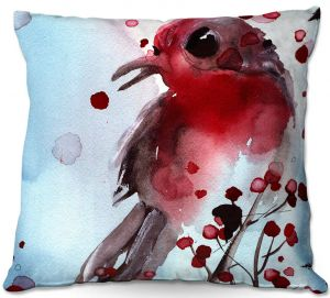 Throw Pillows Decorative Artistic | Dawn Derman - Red Finch in Winter