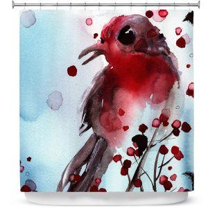 Premium Shower Curtains | Dawn Derman - Red Finch in Winter