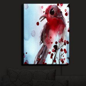 Nightlight Sconce Canvas Light | Dawn Derman - Red Finch in Winter