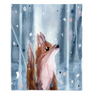 Artistic Sherpa Pile Blankets | Dawn Derman - Red Fox Snow | Wild Animals Winter