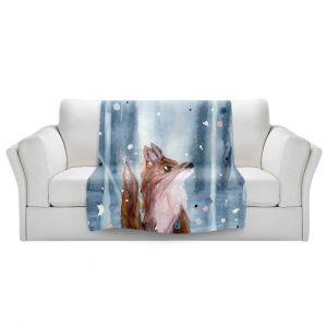 Artistic Sherpa Pile Blankets   Dawn Derman - Red Fox Snow   Wild Animals Winter