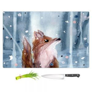 Artistic Kitchen Bar Cutting Boards | Dawn Derman - Red Fox Snow | Wild Animals Winter