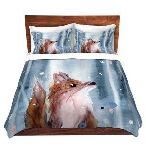 Artistic Duvet Covers and Shams Bedding | Dawn Derman - Red Fox Snow | Wild Animals Winter