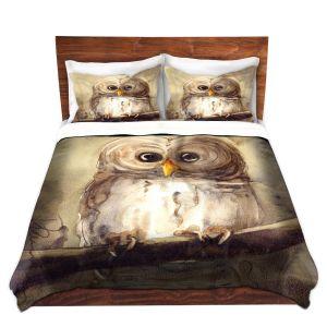 Unique Duvet Woven King Set from DiaNoche Designs by Dawn Derman - Redbird Cottage Owl