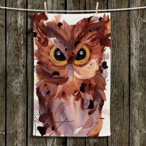 Decorative Cotton Twill Tea Towel from DiaNoche Designs by Dawn Derman - Screech Owl