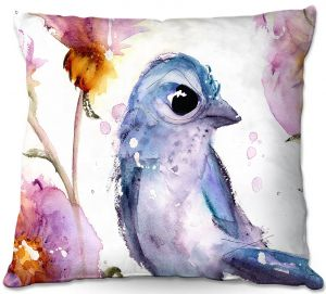 Decorative Outdoor Patio Pillow Cushion | Dawn Derman - Scrub Jay in Wildflowers | Nature Bird