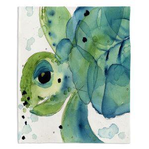 Unique Blanket Fleece Medium 50 x 60 from DiaNoche Designs by Dawn Derman - Sea Turtle