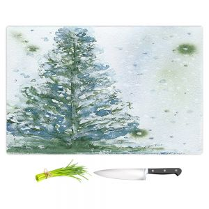 Artistic Kitchen Bar Cutting Boards | Dawn Derman - Snowy Fir Tree | Nature