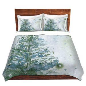 Artistic Duvet Covers and Shams Bedding | Dawn Derman - Snowy Fir Tree | Nature