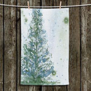 Unique Hanging Tea Towels | Dawn Derman - Snowy Fir Tree | Nature