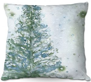Unique Throw Pillows from DiaNoche Designs by Dawn Derman - Snowy Fir Tree   18X18