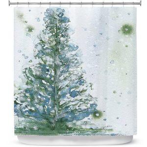 Premium Shower Curtains | Dawn Derman - Snowy Fir Tree | Nature