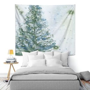 Artistic Wall Tapestry | Dawn Derman - Snowy Fir Tree | Nature