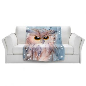 Artistic Sherpa Pile Blankets   Dawn Derman - Snowy Owl   Wild Animals Winter