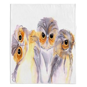Decorative Fleece Throw Blankets   Dawn Derman - Stickin Together   owl bird animal creature watercolor