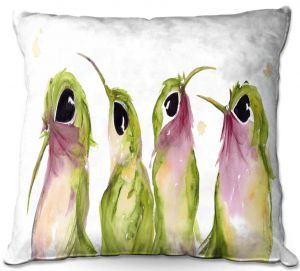 Throw Pillows Decorative Artistic | Dawn Derman - The Broad Tails | bird animal watercolor