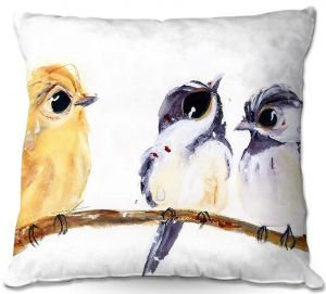 Unique Outdoor Pillow 16X16 from DiaNoche Designs by Dawn Derman - Three Birds