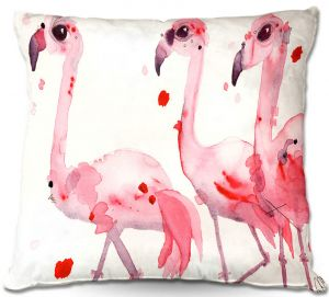 Unique Outdoor Pillow 16X16 from DiaNoche Designs by Dawn Derman - Three Flamingos