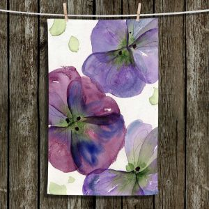 Unique Hanging Tea Towels | Dawn Derman - Three Pansies | Flower