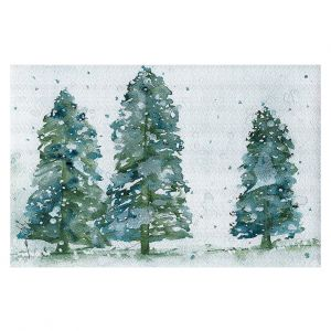 Decorative Floor Coverings | Dawn Derman - Three Snowy Spruce Trees | Nature