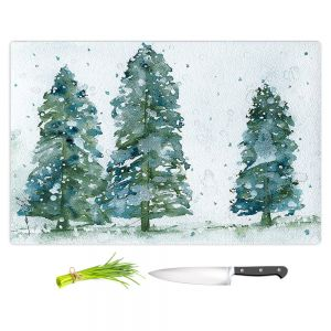 Artistic Kitchen Bar Cutting Boards | Dawn Derman - Three Snowy Spruce Trees | Nature