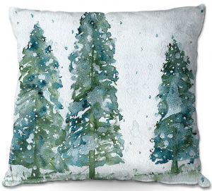 Decorative Outdoor Patio Pillow Cushion | Dawn Derman - Three Snowy Spruce Trees | Nature