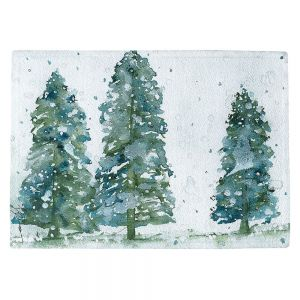 Decorative Kitchen Placemats 18x13 from DiaNoche Designs by Dawn Derman - Three Snowy Spruce Trees