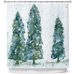 Premium Shower Curtains | Dawn Derman - Three Snowy Spruce Trees | Nature