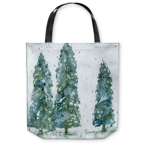 Unique Shoulder Bag Tote Bags | Dawn Derman - Three Snowy Spruce Trees | Nature