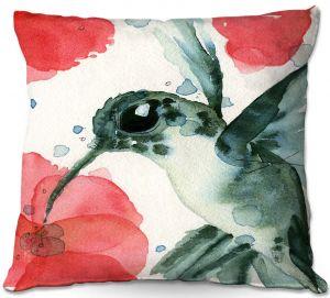 Decorative Outdoor Patio Pillow Cushion | Dawn Derman - Tropical Hummingbird