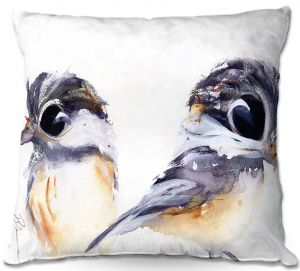 Unique Outdoor Pillow 16X16 from DiaNoche Designs by Dawn Derman - Two Chickadees