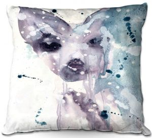 Decorative Outdoor Patio Pillow Cushion | Dawn Derman - Wet Snow | watercolor abstract
