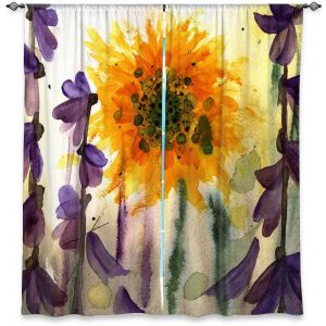Unique Window Curtains Unlined 40w x 52h from DiaNoche Designs by Dawn Derman - Wildflowers