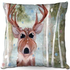 Throw Pillows Decorative Artistic | Dawn Derman - Winter Buck | Wild Animals Winter