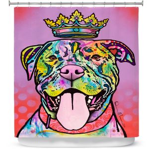 Unique Shower Curtain 69w x 72h inches from DiaNoche Designs by Dean Russo - Imperial Dog