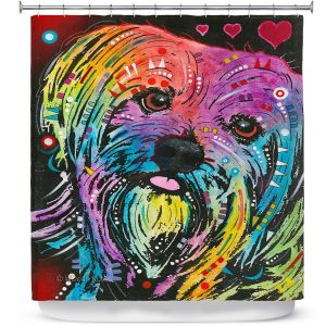 Unique Shower Curtains 71w x 74h Inches from DiaNoche Designs by Dean Russo  - Maltese Dog 10