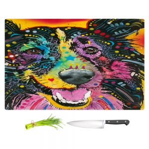 Artistic Kitchen Bar Cutting Boards | Dean Russo - Smiling Collie Dog