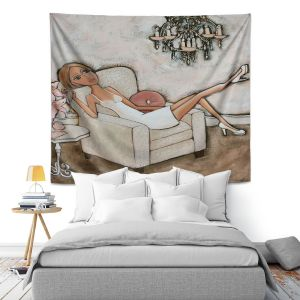 Unique Wall Tapestry 51X60 from DiaNoche Designs by Denise Daffara - Pink Lily