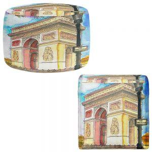 Round and Square Ottoman Foot Stools   Diana Evans - Arc de Triomphe Paris