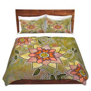 Artistic Duvet Covers and Shams Bedding | Diana Evans - Floral | flower mandala pattern simple