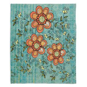 Decorative Fleece Throw Blankets | Diana Evans - Florals Mixed | flower pattern simple