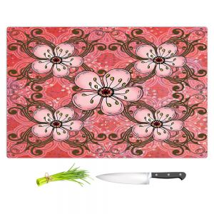Artistic Kitchen Bar Cutting Boards | Diana Evans - Pretty in Pink 2 | flower pattern simple