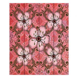 Decorative Wood Plank Wall Art | Diana Evans - Pretty in Pink 2 | flower pattern simple