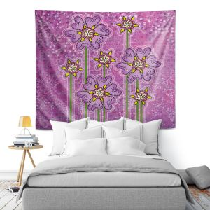Artistic Wall Tapestry   Diana Evans - Purple Floral   flower simple