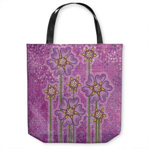Unique Shoulder Bag Tote Bags | Diana Evans - Purple Floral | flower simple