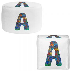 Round and Square Ottoman Foot Stools | Dora Ficher - Alphabet Letter A