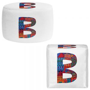 Round and Square Ottoman Foot Stools | Dora Ficher - Alphabet Letter B